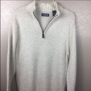 CHAPS POLO Winter White & Gray 1/4 Zip Sweater